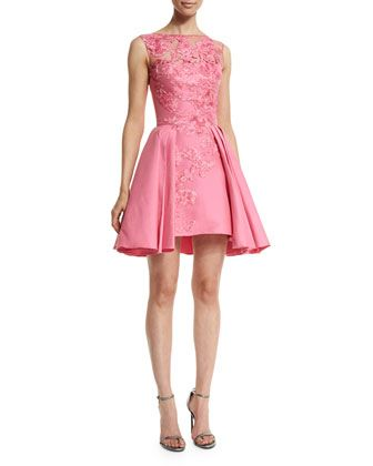 Pretty in Pink - Floral Designed Embroidered Short Dress+by+Zuhair+Murad+at+Neiman+Marcus.