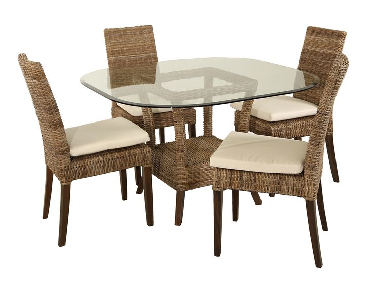 Crafted Of Natural Splayed Cane Hand Woven Over Solid Poles In A Finish And Topped With 48 X Glass Top The Collection Includes Four Chairs