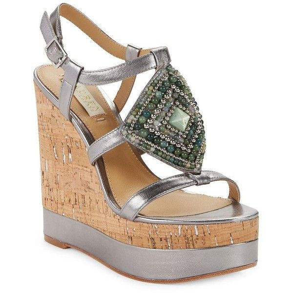 Lauren Ralph Lauren Mattie Platform Wedge Sandals featuring polyvore, women's fashion, shoes, sandals, silver, wedges shoes, ankle wrap wedge sandals, platform sandals, silver ankle strap sandals and platform wedge sandals