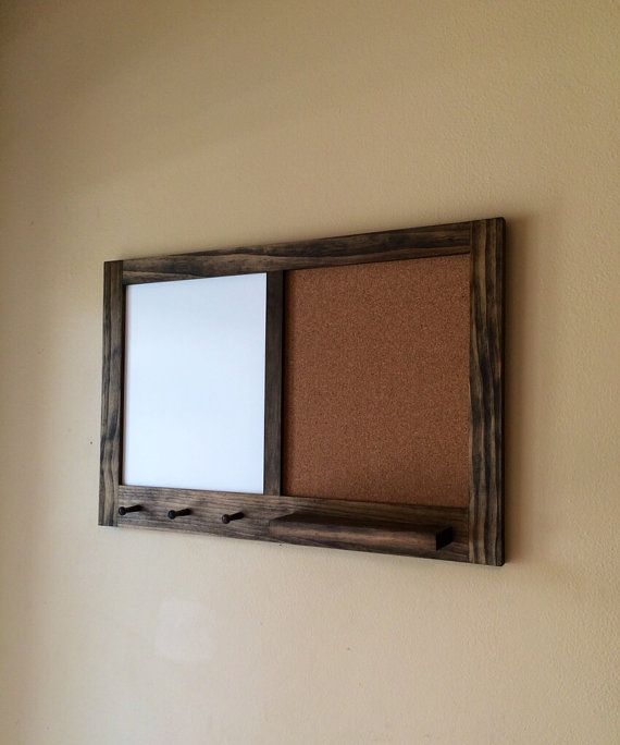 Framed hanging corkboard and whiteboard with key holder for Cork board with hooks