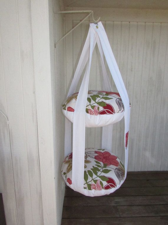 Cat Bed Tropical Red Orange Flower Hanging Cat Bed by 7CatsHeaven