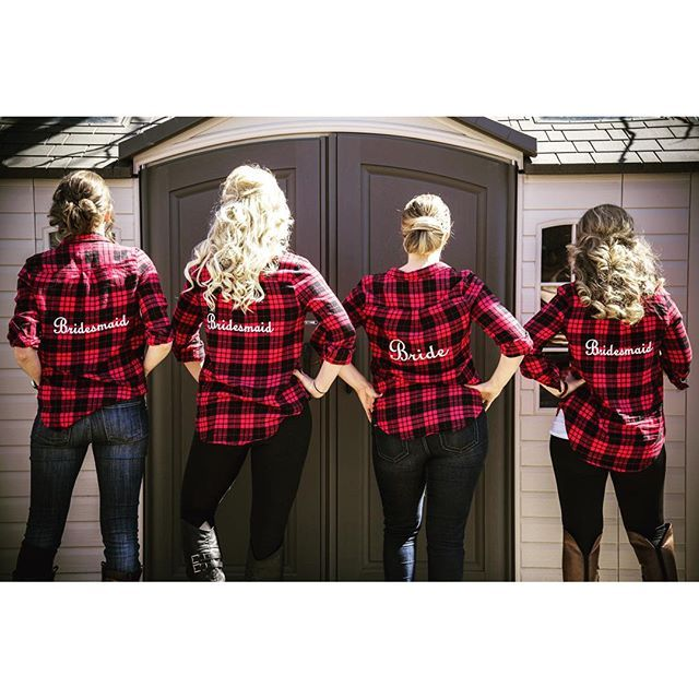 Who needs robes to get ready on your wedding day when you've got matching red flannels?
