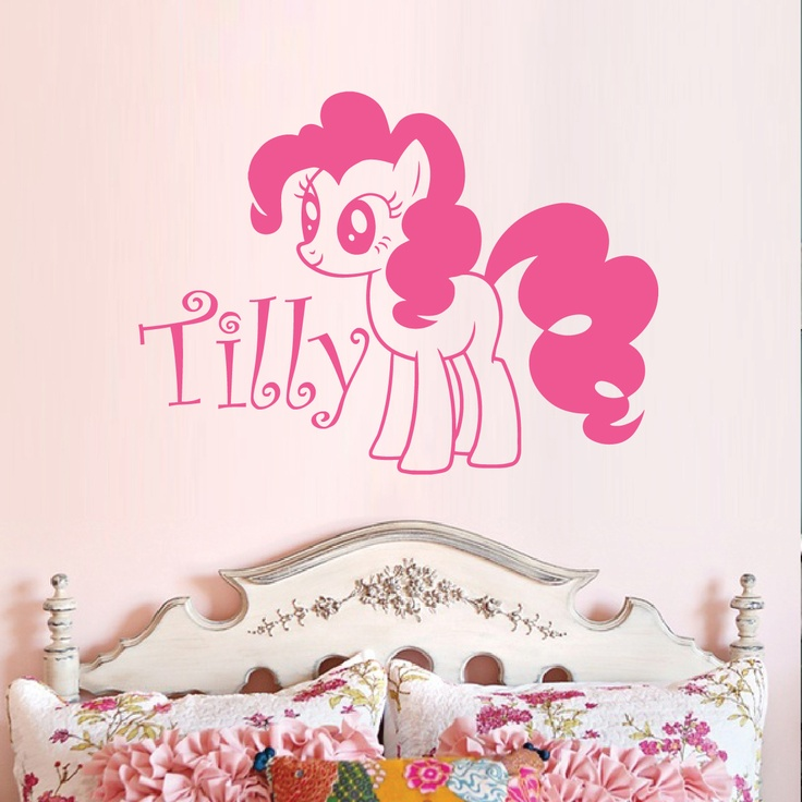 Personalised Vinyl Cute My Little Pony Pinkie Pie And Name Wall Decal Girls  Room Part 87
