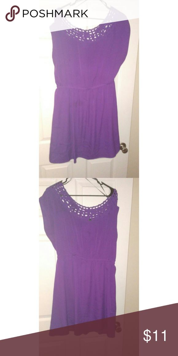 Purple plus size dress Short light silk like material. Purple. Knee high easy to coordinate with heels or flats. A multipurpose dress Dresses