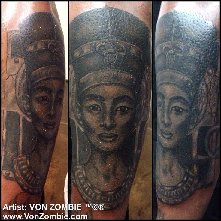 Queen nefertiti portrait style tattoo done with opaque for Black african queen tattoos