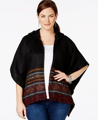 American Rag Plus Size Border-Print Poncho Cardigan, Only at Macy's - Sweaters - Plus Sizes - Macy's