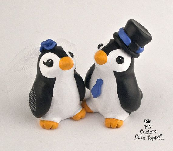 Cute Penguin Cake Topper! Adorable little penguins to top off your wedding cake! All of my works are handmade from polymer clay, they are