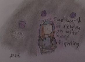 """""""hopeful"""" """"the world is relying on us to keep fighting"""" this is prob my BEST minecraft story mode pic yet!!!!! #ihateyouwitherstorm"""