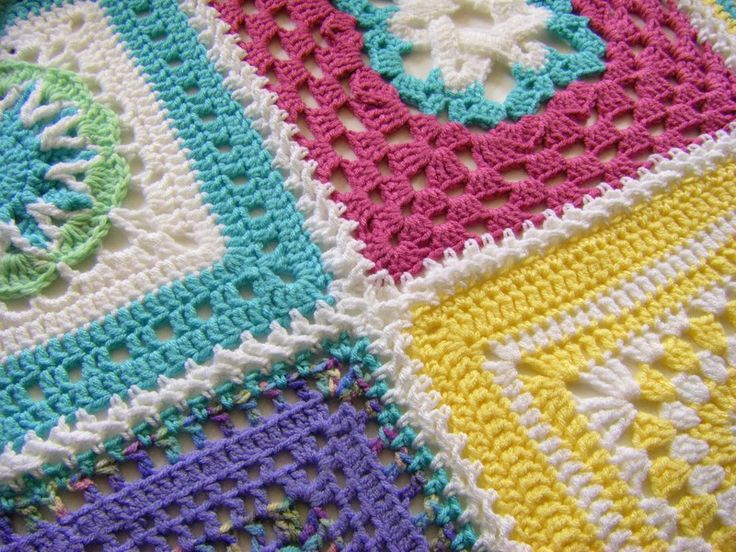 """a square a day link plus a """"flat"""" method of joining blocks: Braids Joining, Crochet Ideas, Crochet Squares, Crochet Joining Squares, Blocks Crochet, Braids Stitches, Joining Blocks, Crafts, Flats Braids"""