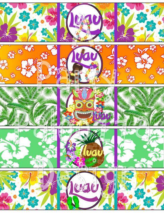 Etichetta del flacone di acqua di stampabile Luau di PartyPaloozza