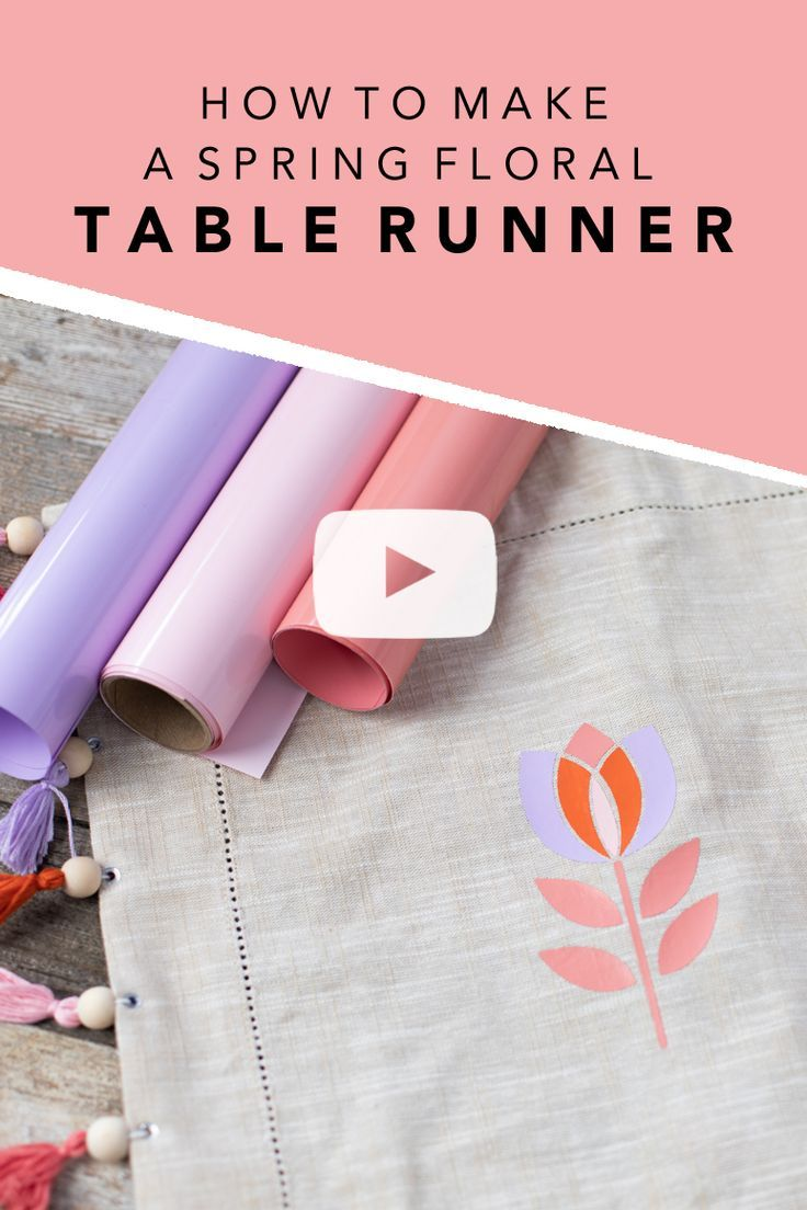 A spring floral diy vinyl table runner with the silhouette