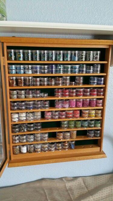 Bead storage. Golf ball showcase repurpose as seed bead storage.