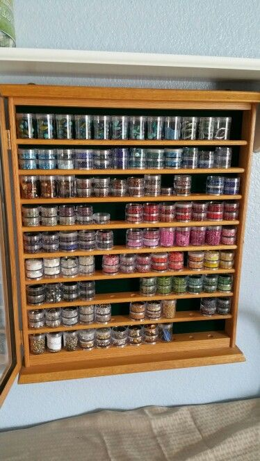 Bead storage. Golf ball showcase repurpose as seed bead storage.