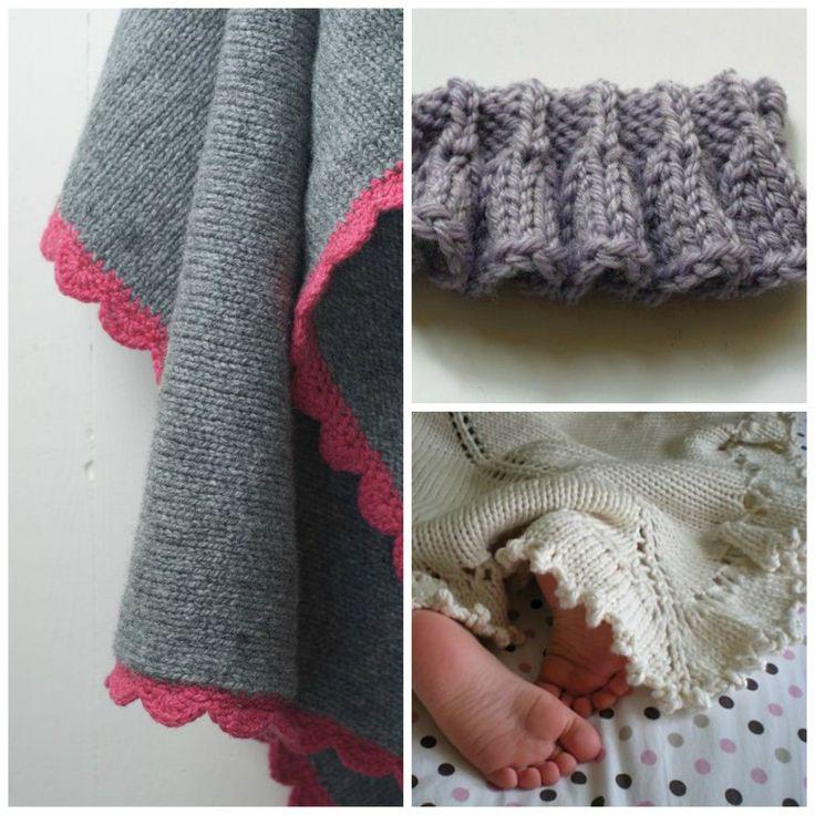 Слева: красиво простой плед в чулок стежка и оторочены крючком ракушки в контрастном цвете. Нашел Здесь (Этси). Вверху справа: довольно оборками Добавить в круг и пришить. Внизу справа: шикарное детское одеяло. Шаблон здесь можно купить.