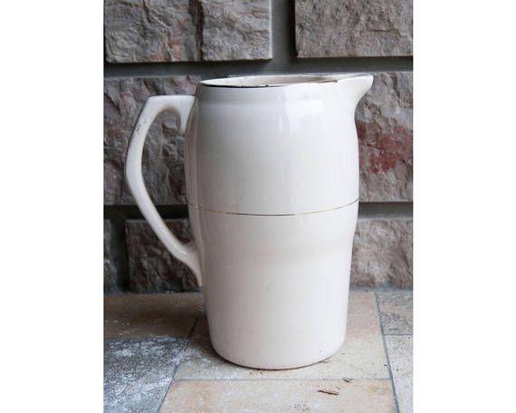 Vintage white ceramic pitcher vase Longchamp - Antique french juice water jug earthenware porcelain - Old rustic drink carafe shabby chic