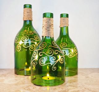 LilacsNDreams: Upcycled Repurposed Handmade Candle Holders from wine bottles