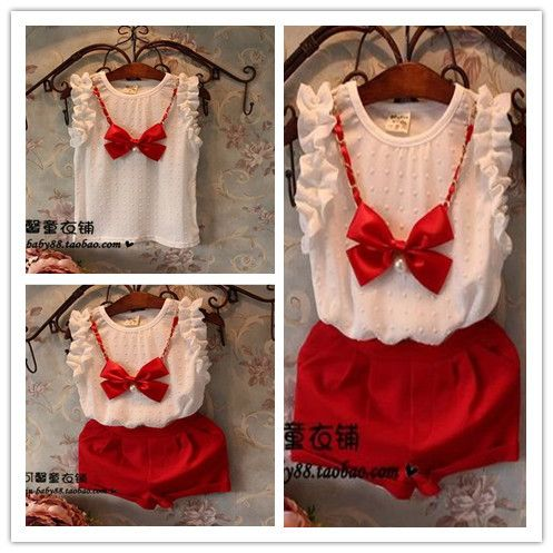 Hu sunshine wholesale New 2014 Hot  fashion summer kids Clothing set sleeveless stereo red bowknot chiffon t-shirt+shorts outfit $49.70