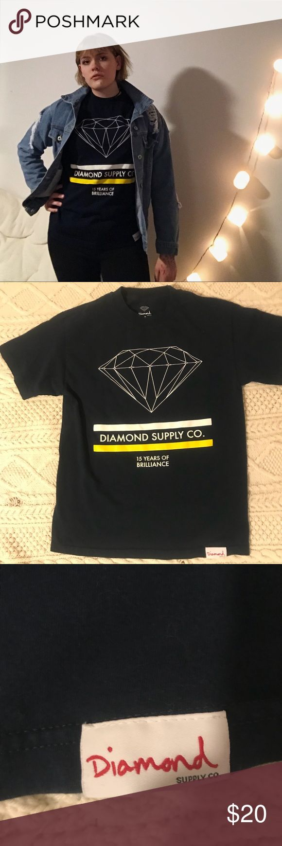 Diamond Supply Co. t-shirt Navy Diamond Supply Co. t-shirt. In great condition Looks great with a pair of jeans or dresses up with a cute skirt and boots :) Diamond Supply Co. Tops Tees - Short Sleeve