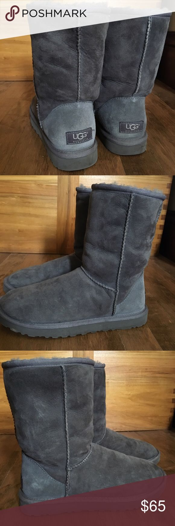 * SOLD * UGG Classic Short Boot in Gray Gray UGG classic short boots in excellent used condition,  Hardly ever wore these, the inside fleece is still in beautiful soft condition. No holes, stains, or burns.  These are beautiful I just do not wear them enough.  ❣ UGG Shoes Winter & Rain Boots