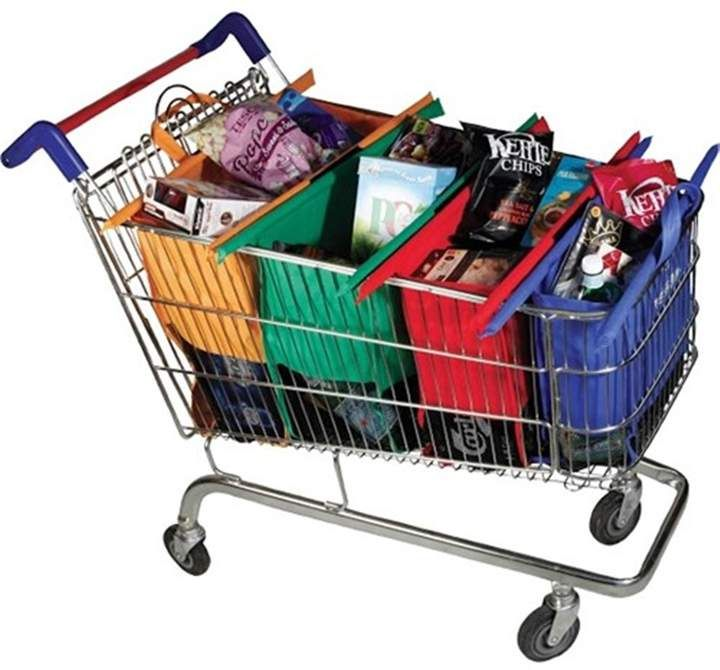Trolley Bags Reusable Shopping Bags Set of 4 Vibe #ad