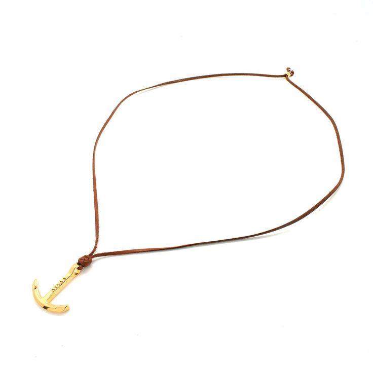 Collar ajustable de tiras de Piel. Pendiente de Ancla en Baño de Oro de 22K.