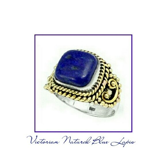 VICTORIAN NATURAL BLUE LAPIS RING  VICTORIAN NATURAL BLUE LAPIS RING Beautiful two tone ring with elegant and detailed craftsmanship. Metal Type.                    925 Sterling Silver Stone Wt.                         4.92 Size.                                  8 Primary Stone.               Lapis Shape.                              Cushion Head Size.                       14*20mm Jewelry Rings