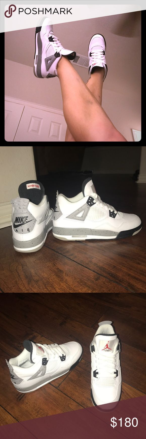 "RARE Air Jordan 4 Retro Og  Boys5.5Y, Women's 7.5 NIKE BOYS SIZE 5.5Y --- WOMENS SIZE 7.5 --- FIT ME PERFECT & I AM A 7.5 IN ALMOST EVERY BRAND. THESE HAVE BEEN WORN 1 TIME FOR ABOUT 2 HOURS, THAT'S IT. SO THEY'RE PRACTICALLY BRAND NEW. EXCELLENT EXCELLENT USED CONDITION. THESE AIR JORDAN 4'S RETRO OG BG ""CEMENT"" WHITE/FIRE RED-BLACK LEATHER, ALWAYS TURN HEADS! A RARE GORGEOUS FLY SHOE FOR SURE! *I will go lower via 🅿️ 🅿️* Nike Shoes"