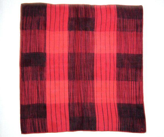 Anfang der 1950er Jahre VERA NEUMANN Schal Vintage Seide in rot, Koralle / schwarz Plaid Stunning!