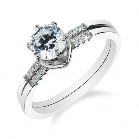 Stříbrný skládací prsten s velkým zirkonem
