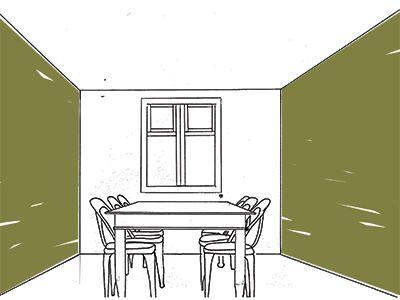 Verhogen - Verhogen Een lage ruimte kan je optisch hoger laten lijken door de muren donkerder te maken dan het plafond en de vloer. De schets hiernaast geeft hiervan een goede indruk.