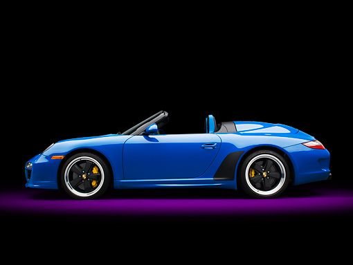POR 07 RK0135 01 © Kimball Stock 2011 Porsche 911 Speedster Convertible Blue Profile View In Studio