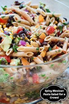 This healthy Mexican-inspired pasta salad recipe makes enough for a crowd with leftovers just for you the next day!