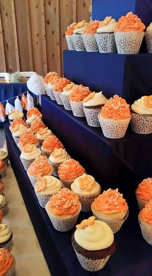 Coral and Navy wedding cupcakes
