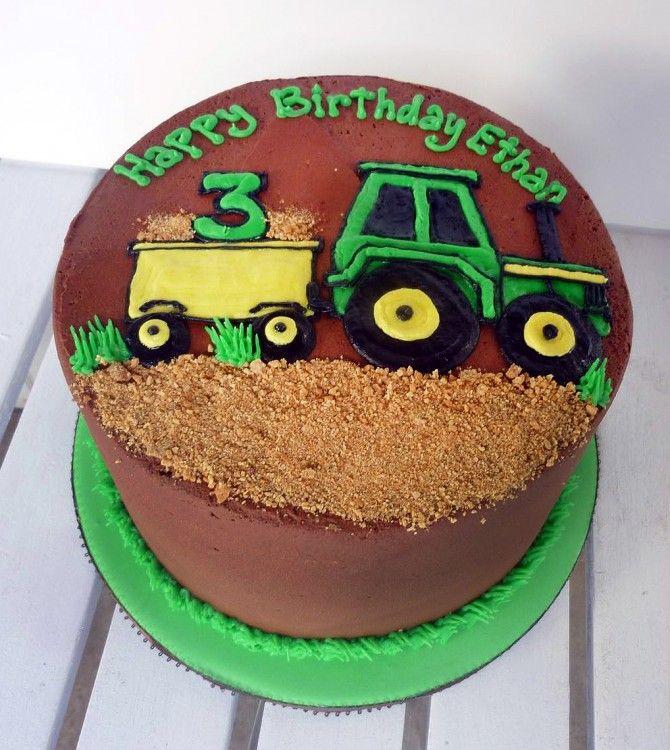 Green Yellow Tractor Birthday Cake