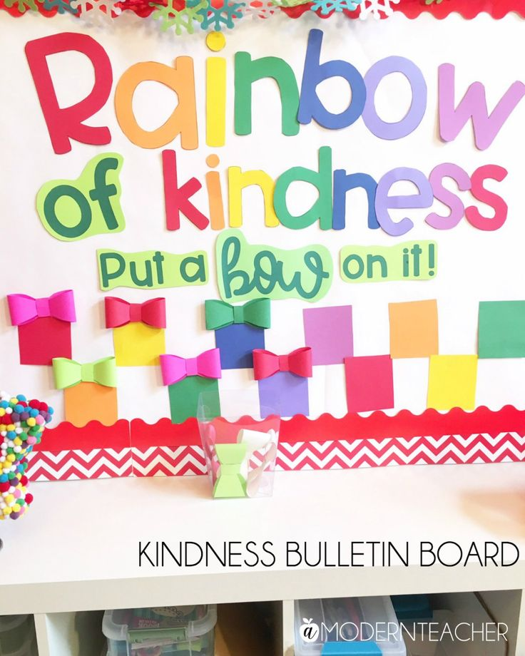Kindness Bulletin Board feature Astrobrights papers by A Modern Teacher
