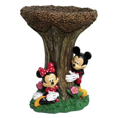 Disney 21.5-in H 1-Tier Round Resin Birdbath
