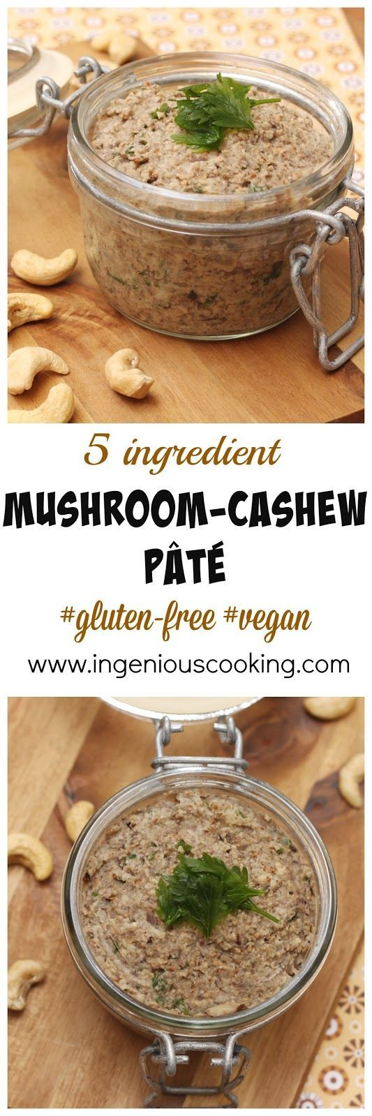Mushroom-cashew (almond?) p�t� - simple vegan spread made with only 5 ingredients in under 20 minutes!