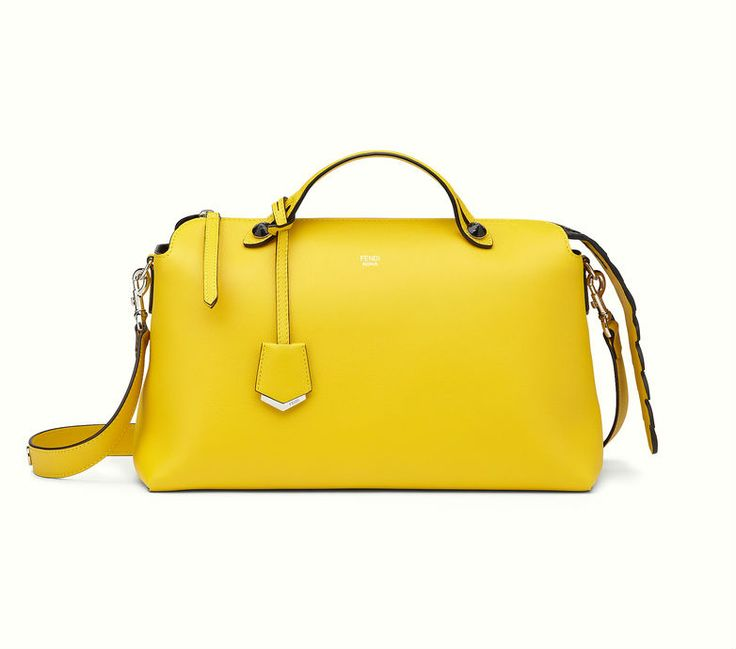The Fendi By The Way yellow bag with black double handle.