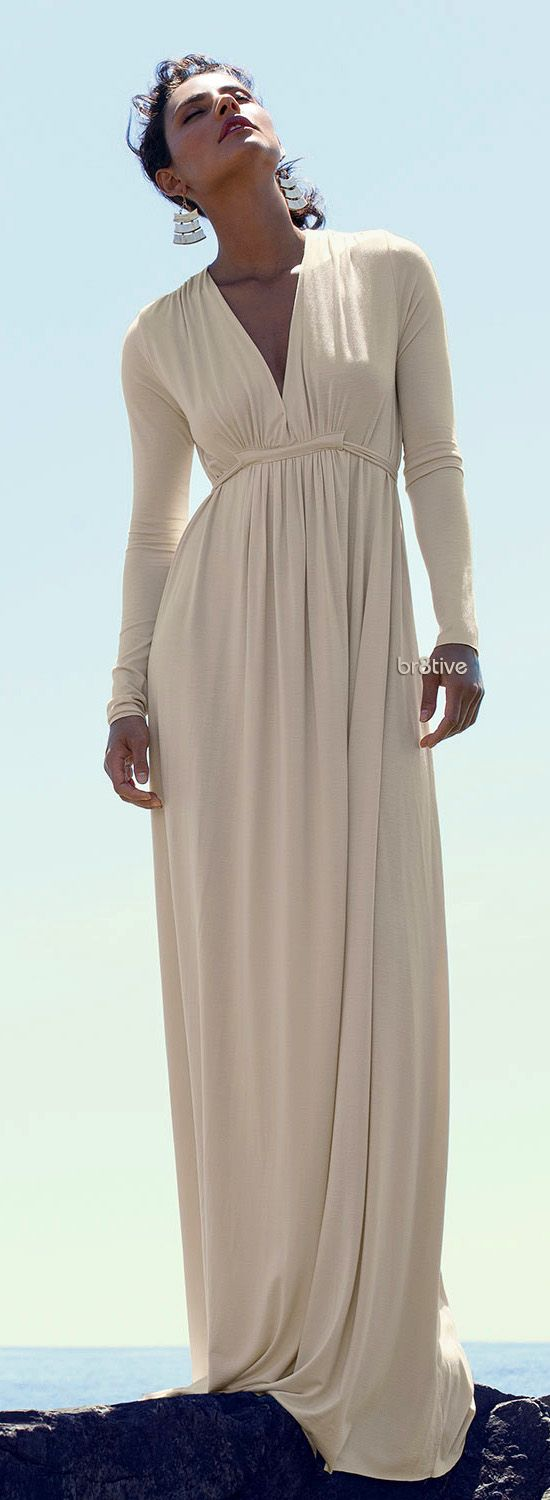 Rachel Pally Long-Sleeve Jersey Maxi Caftan Dress