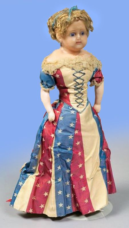 English Wax Doll with Star Spangled Red, White, and Blue Gown circa ...