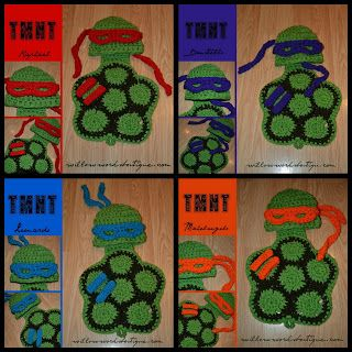 Calleigh's Clips & Crochet Creations: Free Pattern - Crochet Costume Mask & Bracelets for Ninja Turtles