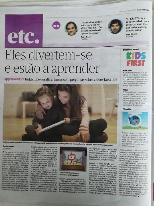 Os nossos projetos kiddZtube e kiddZtube Academy estão hoje em destaque num artigo do  Jornal de Notícias