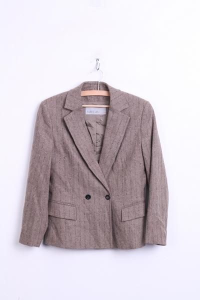 MARCCAIN Womens 2 38 Blazer Jacket Grey Double Breasted Striped Wool - RetrospectClothes