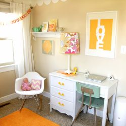 precious girl's room: Lamps, Desks Area, Desks Chairs, Offices, Colors, Little Girls Rooms, Desks Ideas, Yellow Accent, Kids Rooms