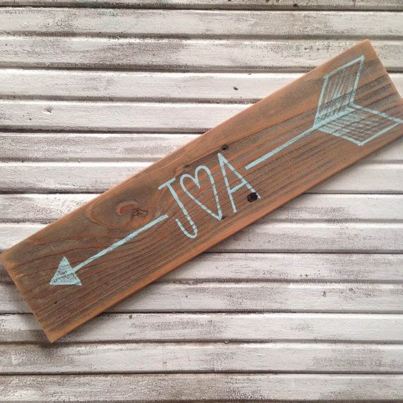 Personalized Arrow Sign on Stained Wood  by AverieLaneBoutique
