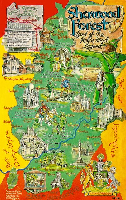 England - Map of Sherwood Forest and the Legend of Robin Hood
