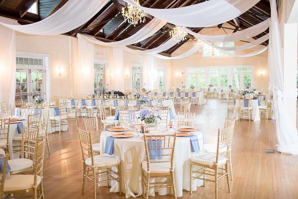 Gold and blue wedding reception with draping | Luke and Ashley Photography
