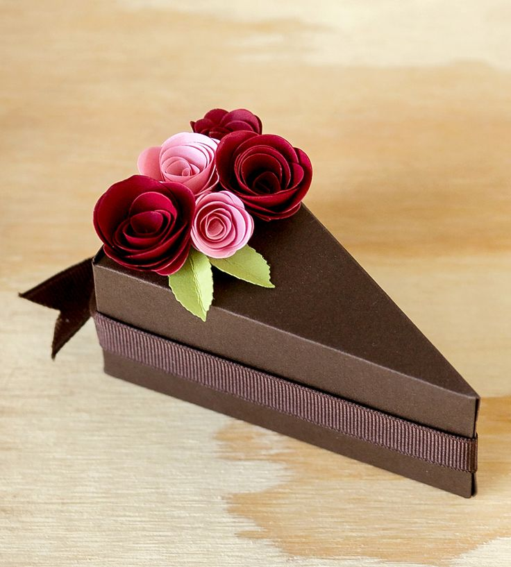 Chocolate Paper Cake Slice Favor Boxes Really cute!