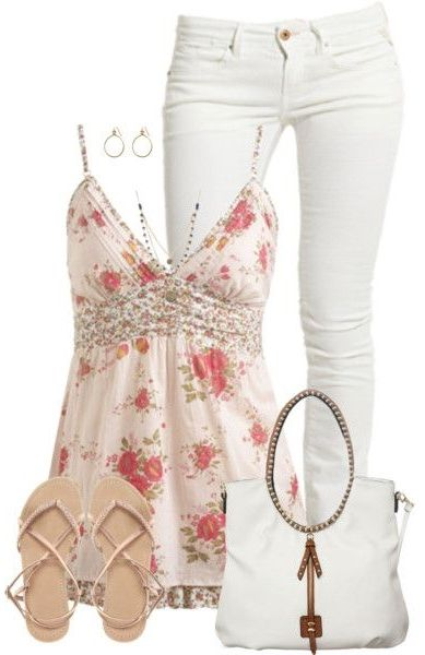 Yes! Such a pretty summer/spring outfit. White pants can be kind of tricky, but this shirt is perfect.