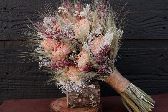 Romantic Rustic Wedding Bouquet, Medium Bridal Bouquet, Farmhouse, Dried Flower Bouquet, Blush Peony Bouquet with Wheat & Wild Flowers on Etsy, $62.43 CAD